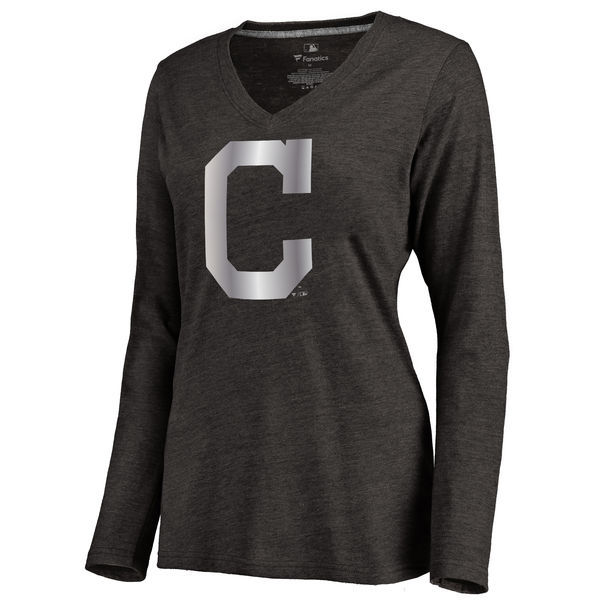 2016 Cleveland Indians Women's Platinum Collection Long Sleeve V-Neck Tri-Blend T-Shirt Black