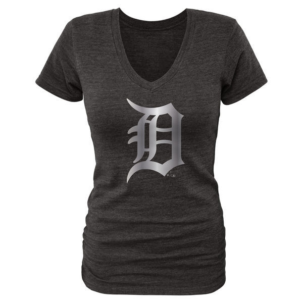 2016 Detroit Tigers Fanatics Apparel Women's Platinum Collection V-Neck Tri-Blend T-Shirt Black