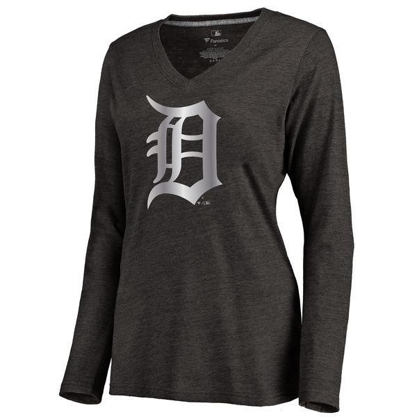 2016 Detroit Tigers Women's Platinum Collection Long Sleeve V-Neck Tri-Blend T-Shirt Black