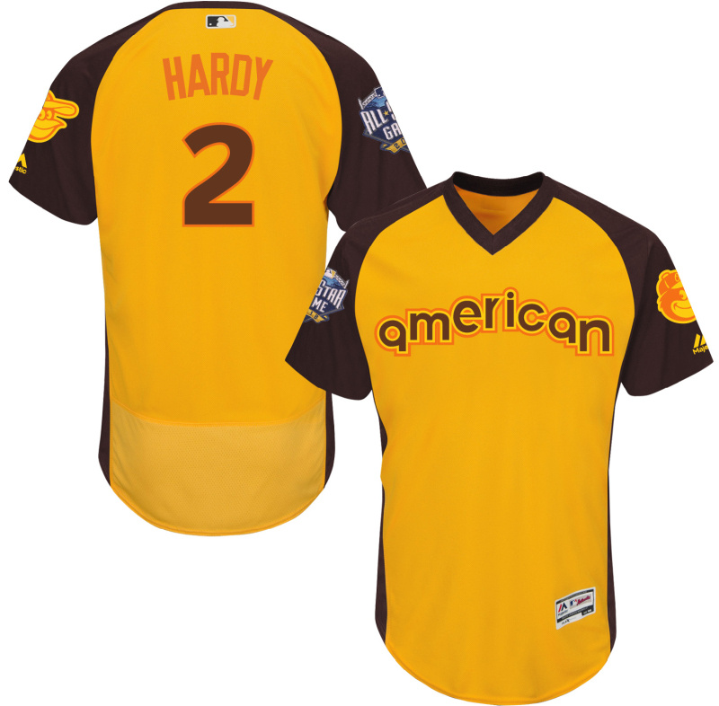 2016 MLB All Star Baltimore Orioles 2 Hardy Yellow Jerseys