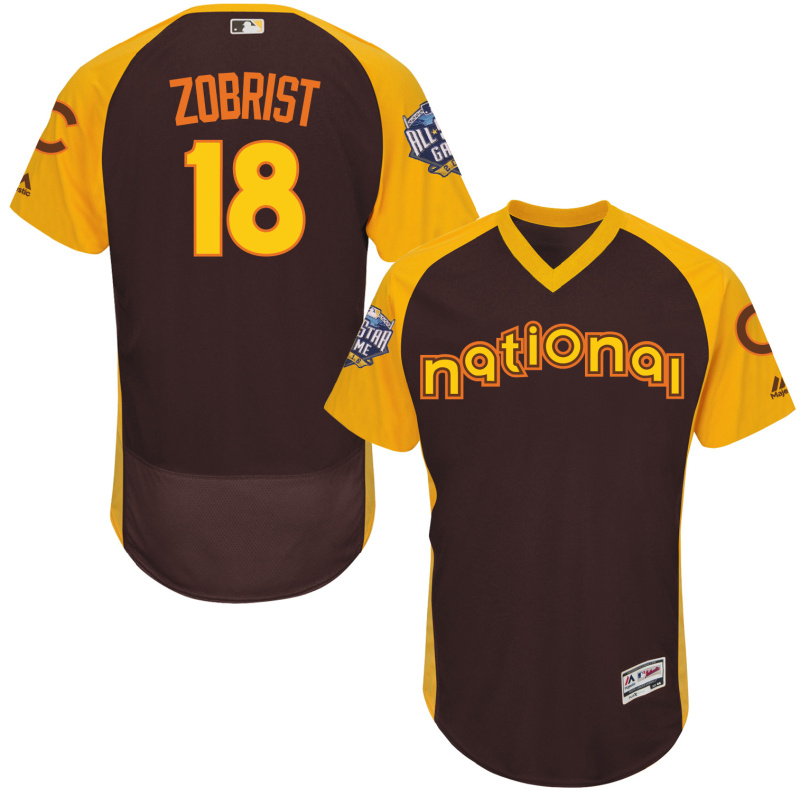 2016 MLB All Star Chicago Cubs 18 Zobrist brown Jerseys