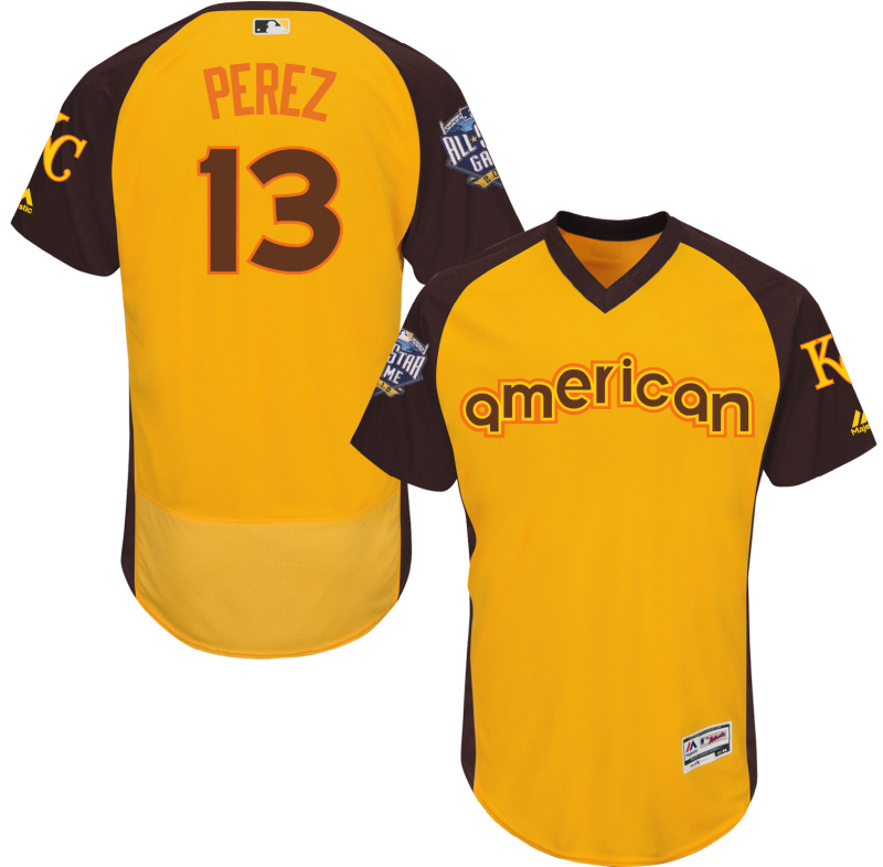 2016 MLB All Star Kansas City Royals 13 Perez Yellow Jerseys