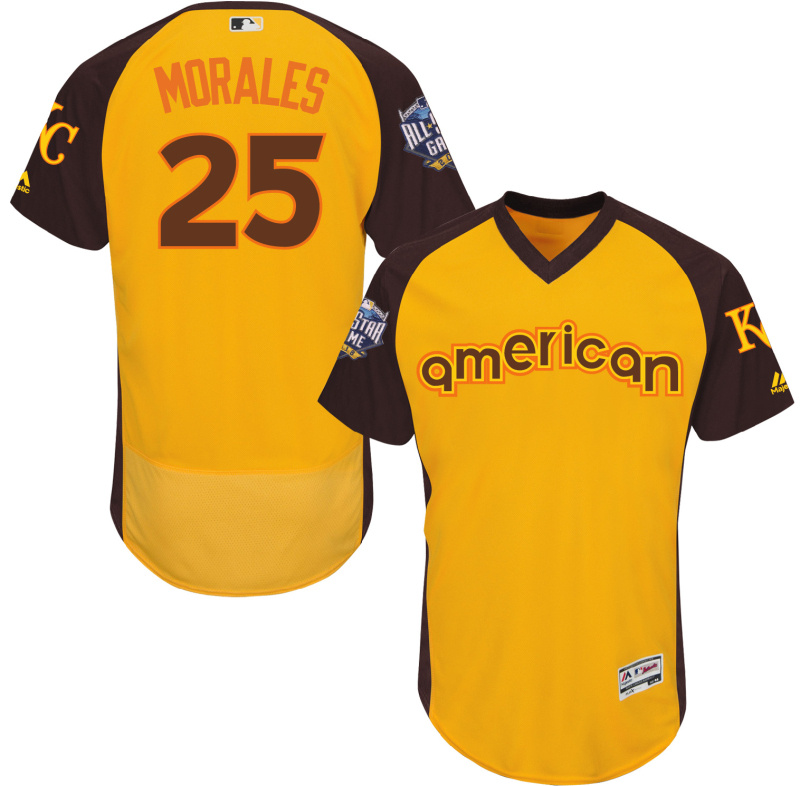 2016 MLB All Star Kansas City Royals 25 Morales Yellow Jerseys
