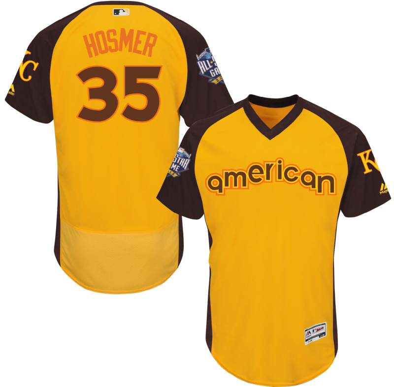 2016 MLB All Star Kansas City Royals 35 Hosmer Yellow Jerseys