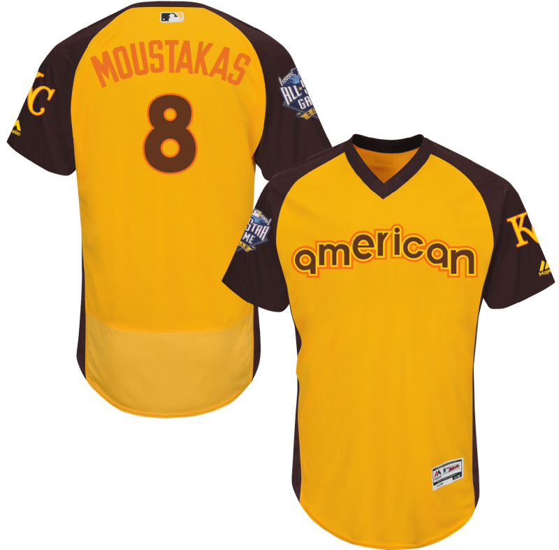 2016 MLB All Star Kansas City Royals 8 Moustakas Yellow Jerseys