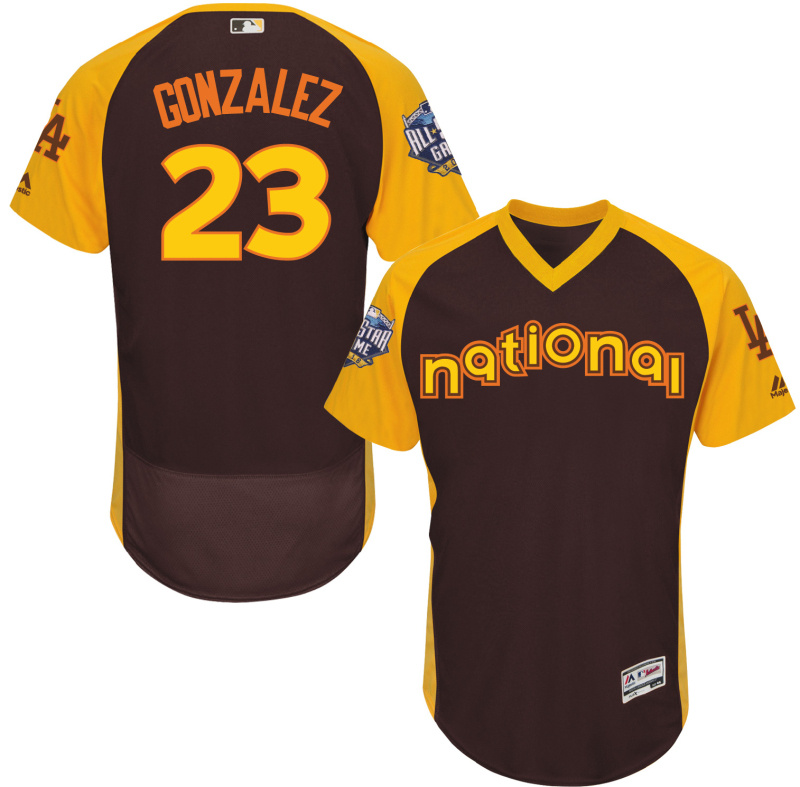 2016 MLB All Star Los Angeles Dodgers 23 Gonzalez brown Jerseys