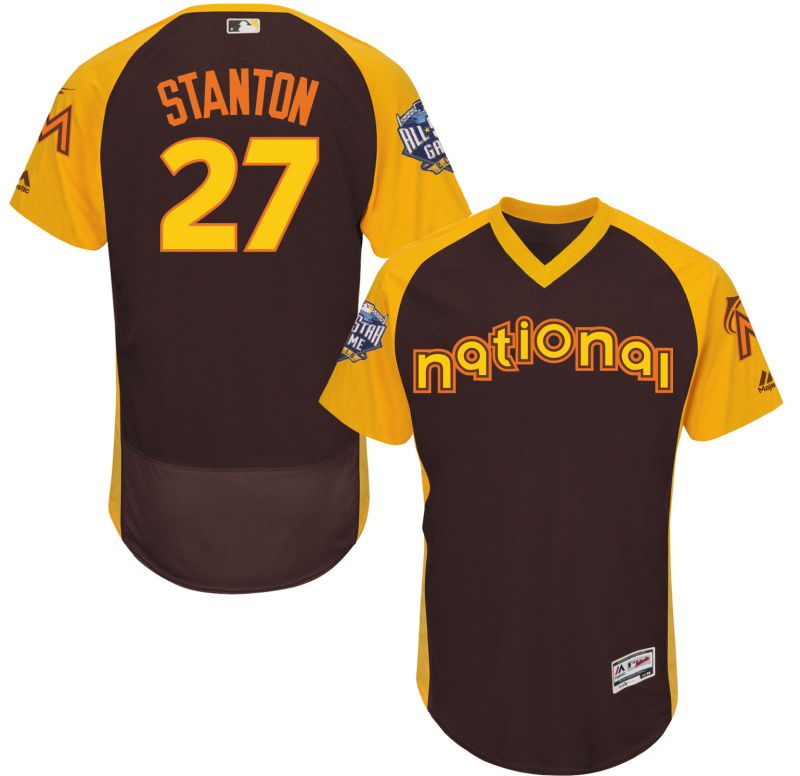2016 MLB All Star Miami Marlins 27 Stanton brown Jerseys
