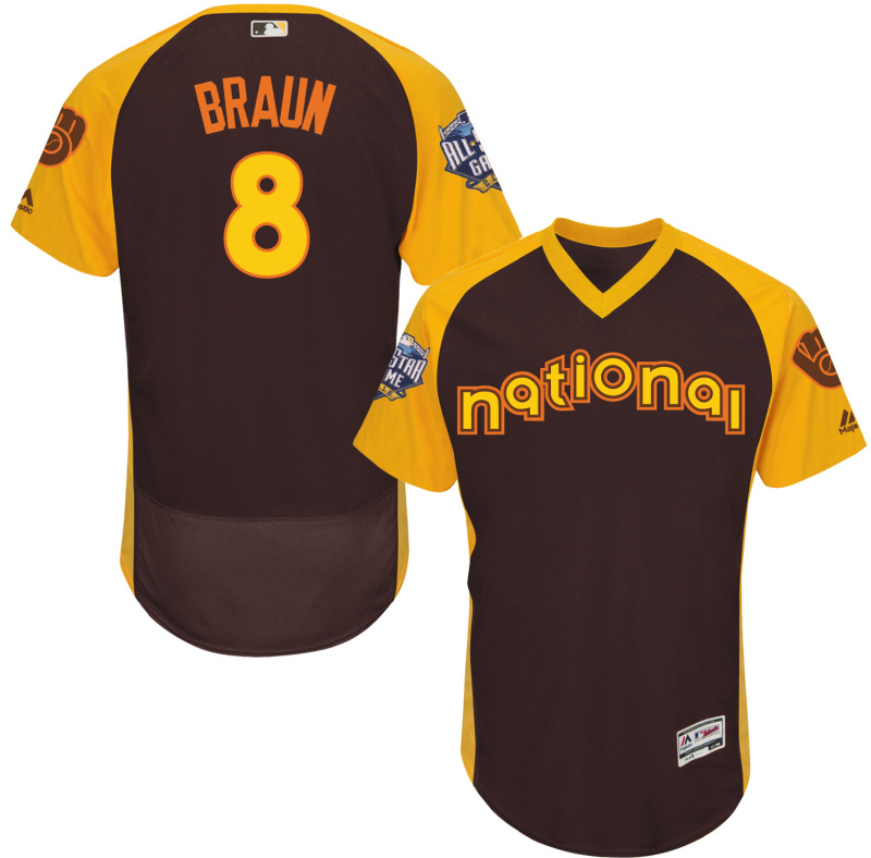 2016 MLB All Star Milwaukee Brewers 8 Braun brown Jerseys