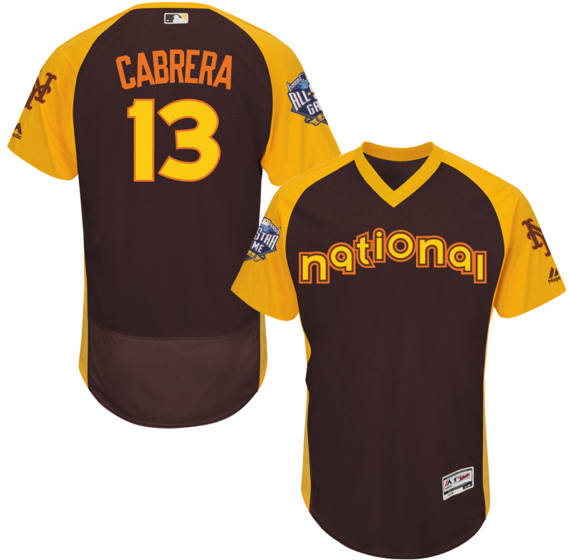 2016 MLB All Star New York Mets 13 Cabrera brown Jerseys