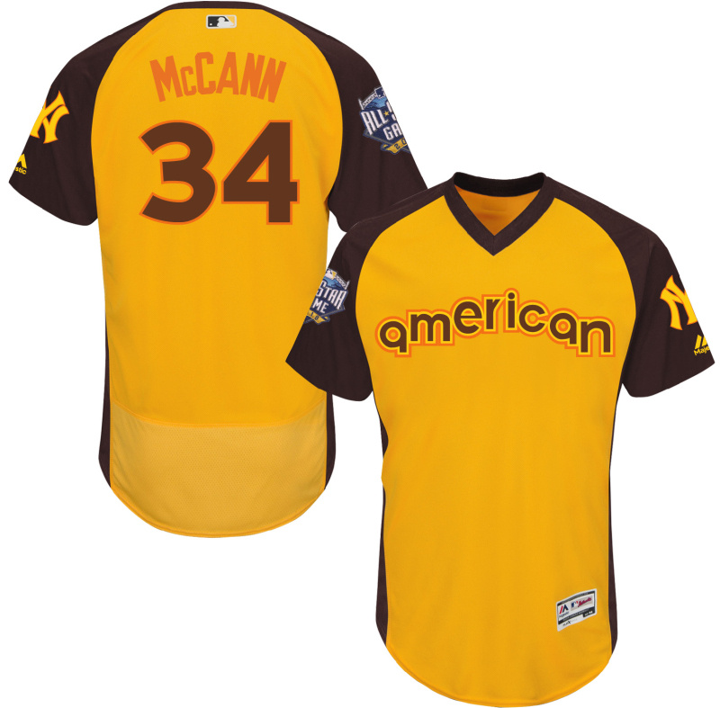 2016 MLB All Star New York Yankees 34 Mccann Yellow Jerseys