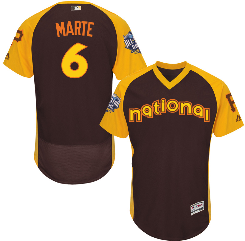 2016 MLB All Star Pittsburgh Pirates 6 Marte brown Jerseys