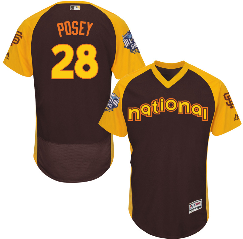 2016 MLB All Star San Francisco Giants 28 Posey brown Jerseys