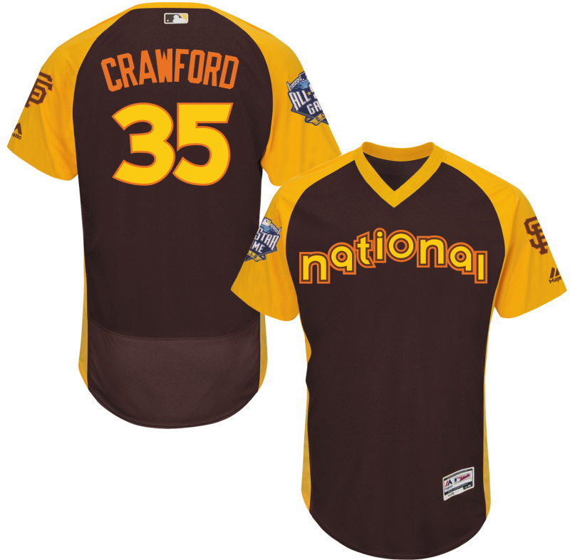 2016 MLB All Star San Francisco Giants 35 Crawford brown Jerseys