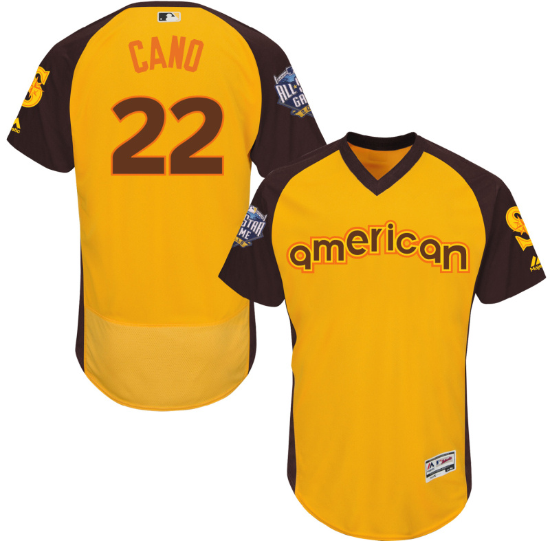 2016 MLB All Star Seattle Mariners 22 Cano Yellow Jerseys