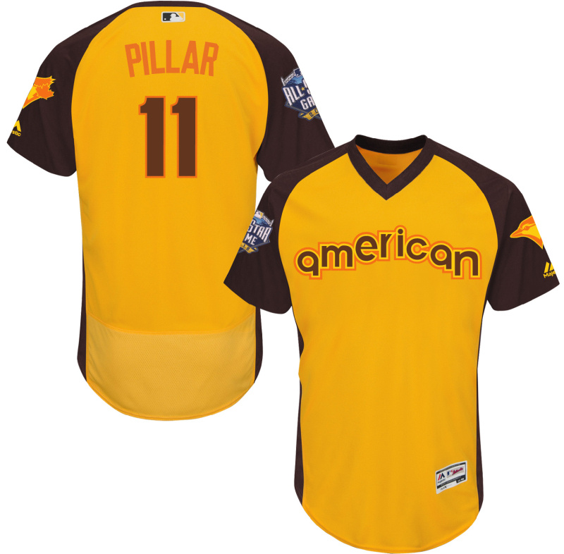 2016 MLB All Star Toronto Blue Jays 11 Pillar Yellow Jerseys