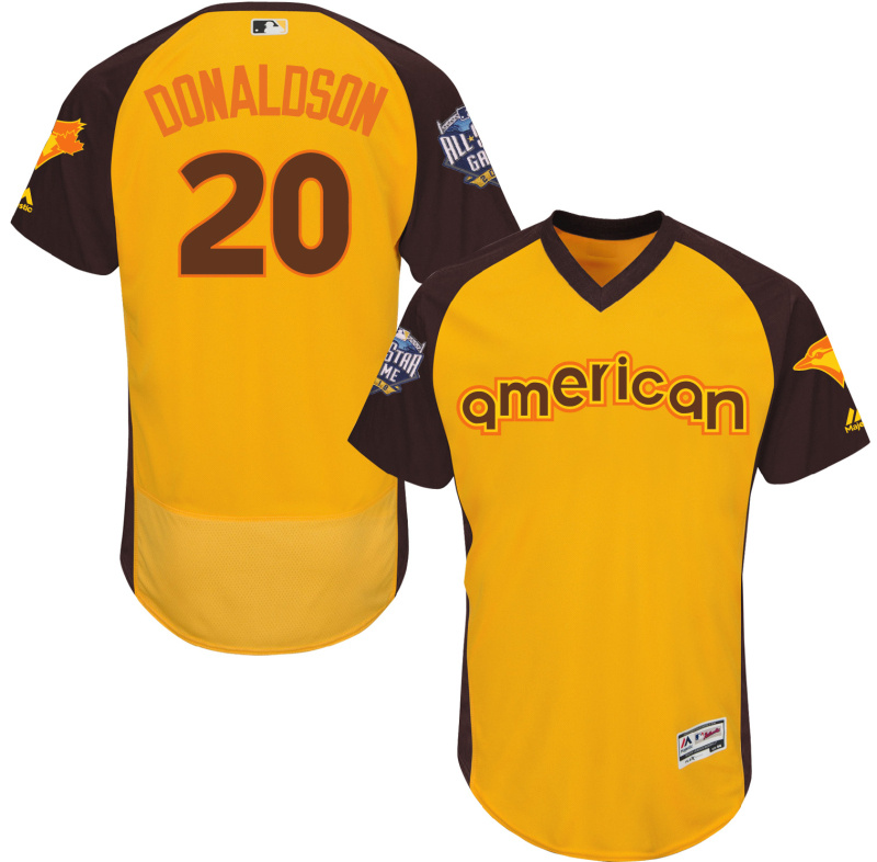 2016 MLB All Star Toronto Blue Jays 20 Donaldson Yellow Jerseys