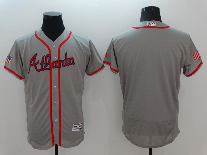 2016 MLB Atlanta Braves Blank Grey Elite Fashion Jerseys