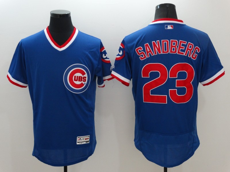 2016 MLB Chicago Cubs 23 Sandberg Blue Elite Throwback Jerseys