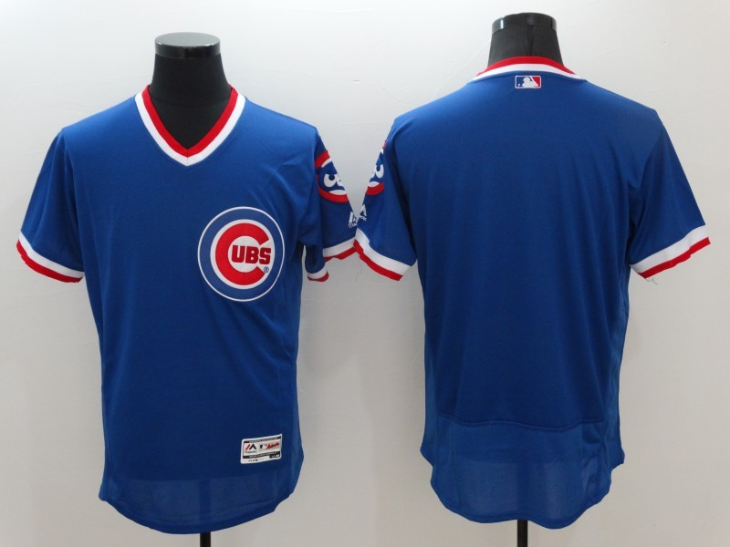 2016 MLB Chicago Cubs Blank Blue Elite Throwback Jerseys