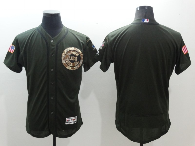2016 MLB Chicago Cubs Blank Green Salute to Service Stitched Baseball Jersey