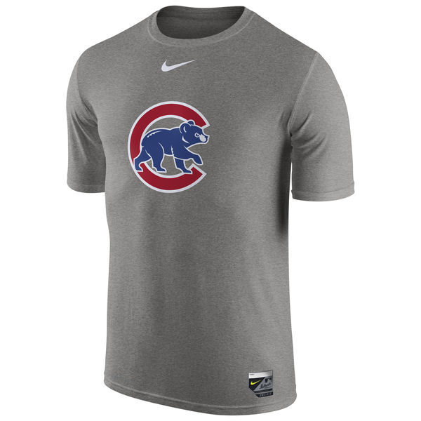 2016 MLB Chicago Cubs Nike Authentic Collection Legend Logo 1.5 Performance T-Shirt - Gray