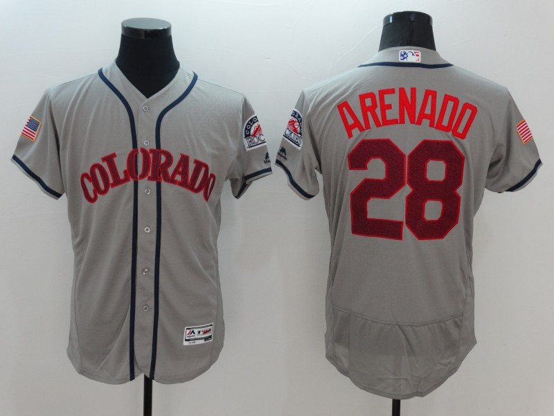 2016 MLB Colorado Rockies 28 Arenado Grey Elite Fashion Jerseys