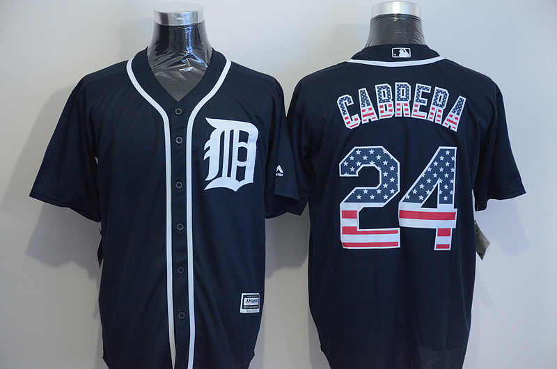 2016 MLB Detroit Tigers 24 Cabrera Blue USA Flag Fashion Jerseys