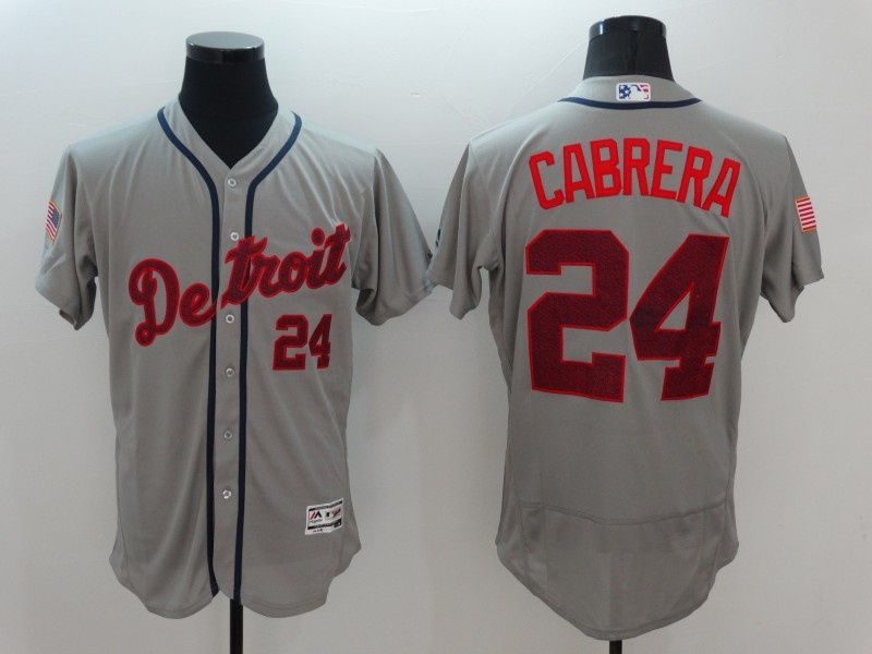 2016 MLB Detroit Tigers 24 Cabrera Grey Elite Fashion Jerseys