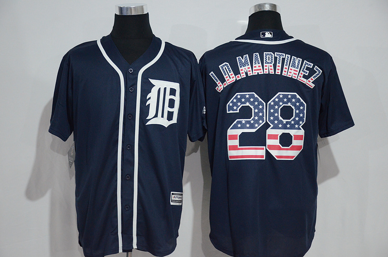 2016 MLB Detroit Tigers 28 J.D.Martinez Blue USA Flag Fashion Jerseys