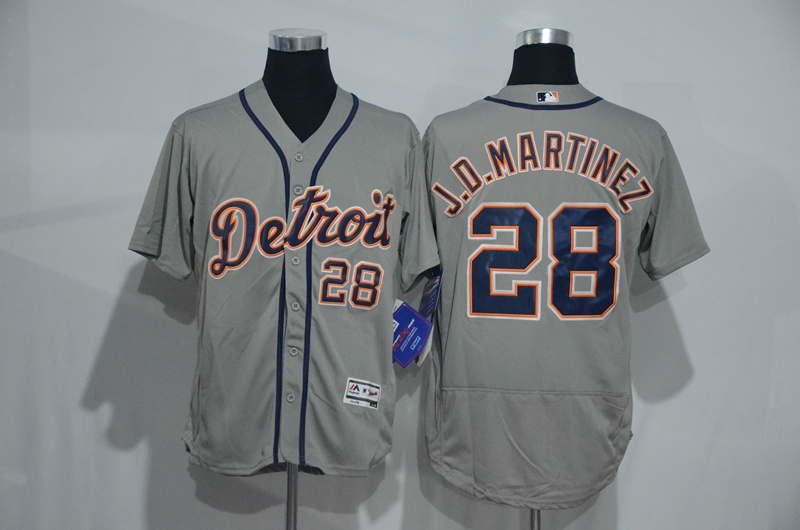 2016 MLB Detroit Tigers 28 J.D.Martinez Grey Elite Fashion Jerseys