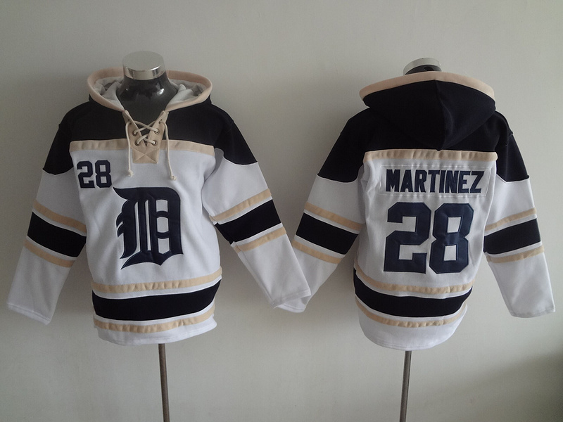 2016 MLB Detroit Tigers 28 Martinez white Lace Up Pullover Hooded Sweatshirt