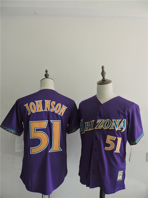2016 MLB FLEXBASE Arizona Diamondbacks 51 Johnson Purple Jerseys