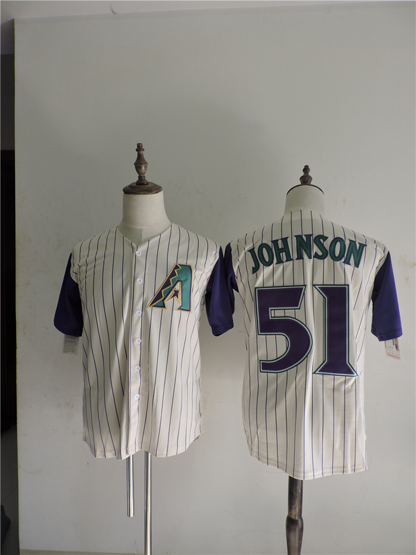 2016 MLB FLEXBASE Arizona Diamondbacks 51 Johnson stripe White Jerseys