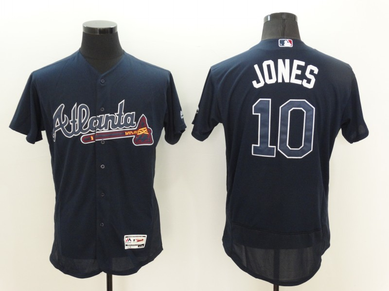 2016 MLB FLEXBASE Atlanta Braves 10 Jones Blue Jerseys