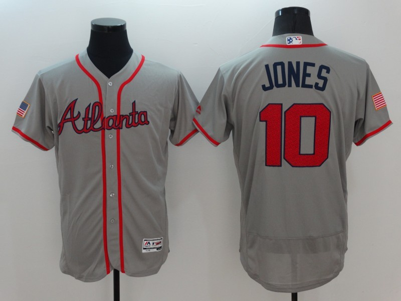 2016 MLB FLEXBASE Atlanta Braves 10 Jones Grey Fashion Jerseys