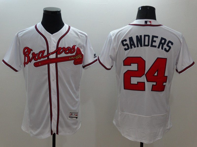 2016 MLB FLEXBASE Atlanta Braves 24 Sanders white jerseys