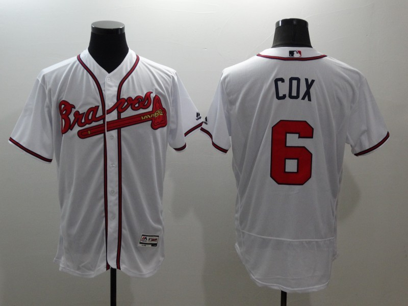 2016 MLB FLEXBASE Atlanta Braves 6 Cox white jerseys 2