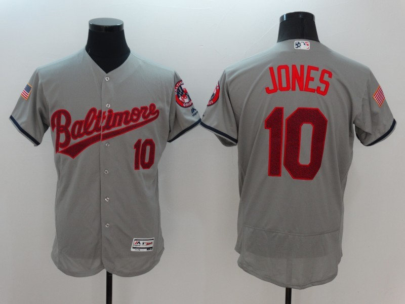 2016 MLB FLEXBASE Baltimore Orioles 10 Adam Jones Grey Fashion Jerseys