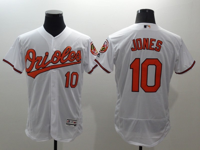 2016 MLB FLEXBASE Baltimore Orioles 10 Jones white jerseys