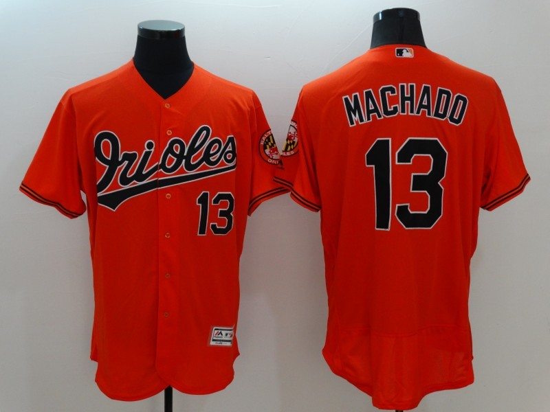 2016 MLB FLEXBASE Baltimore Orioles 13 Machado Orange Jersey