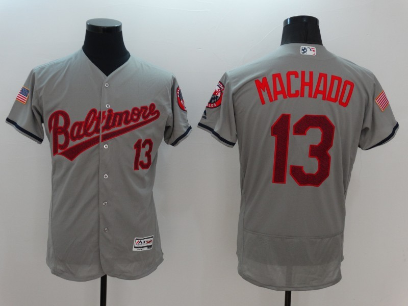 2016 MLB FLEXBASE Baltimore Orioles 13 Manny Machado Grey Fashion Jerseys