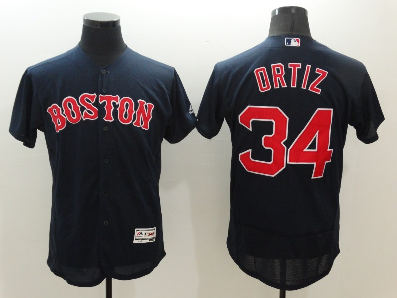 2016 MLB FLEXBASE Boston Red Sox 34 David Ortiz Blue Jerseys