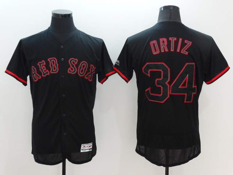 2016 MLB FLEXBASE Boston Red Sox 34 David Ortiz black Jerseys
