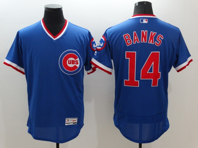 2016 MLB FLEXBASE Chicago Cubs 14 banks blue jersey