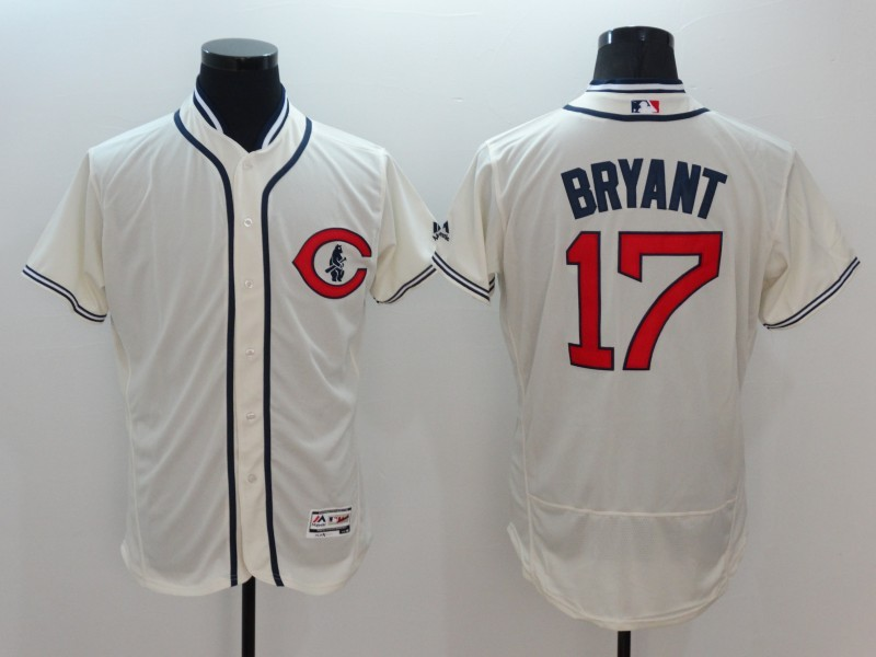 2016 MLB FLEXBASE Chicago Cubs 17 Bryant Gream Jerseys