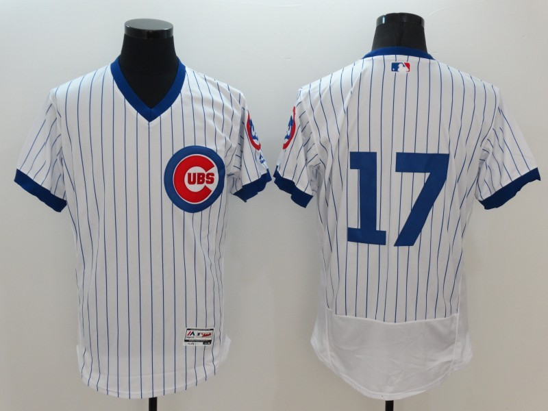 2016 MLB FLEXBASE Chicago Cubs 17 Kris Bryant White stripes Jerseys