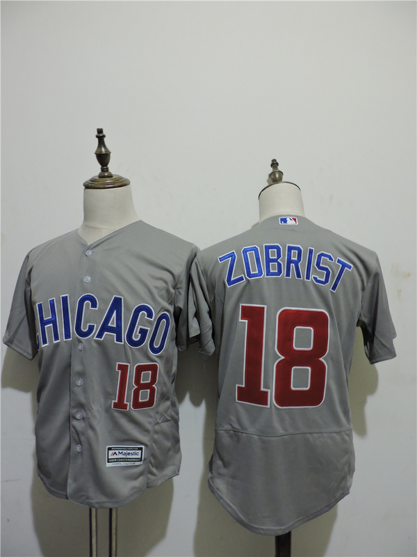 2016 MLB FLEXBASE Chicago Cubs 18 Zobrist Grey1 Elite Jerseys