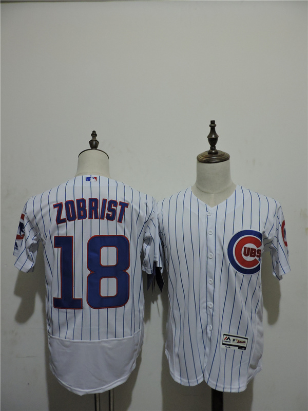 2016 MLB FLEXBASE Chicago Cubs 18 Zobrist stripe White Elite Jerseys