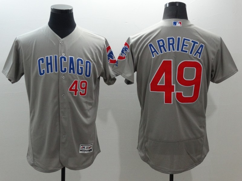 2016 MLB FLEXBASE Chicago Cubs 49 Arrieta Grey Jerseys