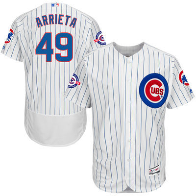 2016 MLB FLEXBASE Chicago Cubs 49 Arrieta white 100th jerseys
